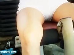 Desi model girl strip full bared to do a minimal exercise with the help be incumbent on trainer