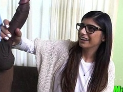 Mia khalifa enjoys engulfing a extensive black dude's big dick